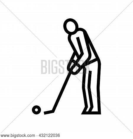 Golf Player Playing Game And Hitting Ball Line Icon Vector. Golf Player Playing Game And Hitting Bal