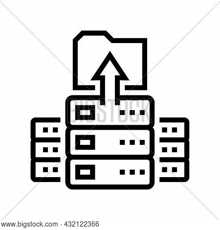 Storaging Knowledge On Server Line Icon Vector. Storaging Knowledge On Server Sign. Isolated Contour