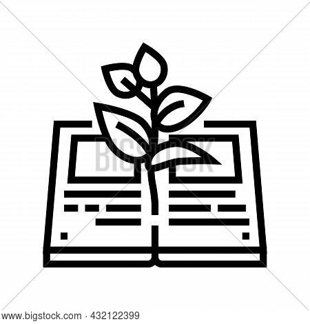 Reading Book For Growing Knowledge Line Icon Vector. Reading Book For Growing Knowledge Sign. Isolat