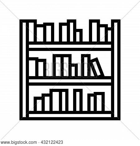 Library Shelf With Books Line Icon Vector. Library Shelf With Books Sign. Isolated Contour Symbol Bl