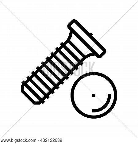 Weld Screw Line Icon Vector. Weld Screw Sign. Isolated Contour Symbol Black Illustration