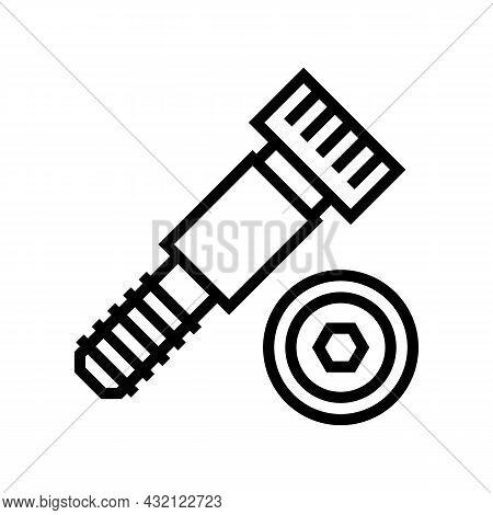 Shoulder Screw Line Icon Vector. Shoulder Screw Sign. Isolated Contour Symbol Black Illustration