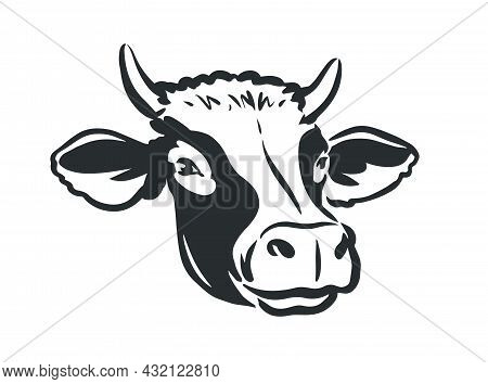 Cow Head Logo. Dairy Farm, Fresh Milk, Beef Symbol. Farm Animal Portrait Vector Illustration