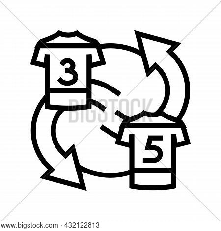 Exchange Players T-shirt Line Icon Vector. Exchange Players T-shirt Sign. Isolated Contour Symbol Bl