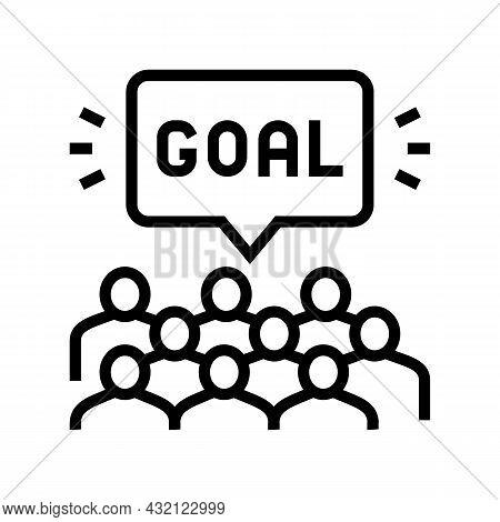 Fans Soccer Line Icon Vector. Fans Soccer Sign. Isolated Contour Symbol Black Illustration