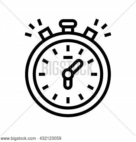 Stopwatch Playing Time Counting Line Icon Vector. Stopwatch Playing Time Counting Sign. Isolated Con