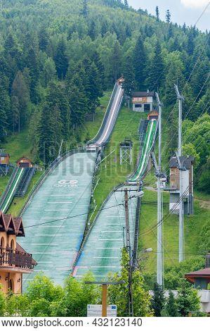 Szczyrk, Poland - June 6, 2021: Beskid Olympians Skalite Ski Jumping Hill.