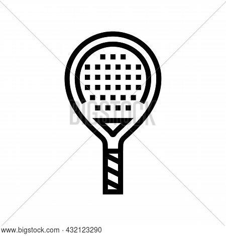 Paddle Racket Line Icon Vector. Paddle Racket Sign. Isolated Contour Symbol Black Illustration