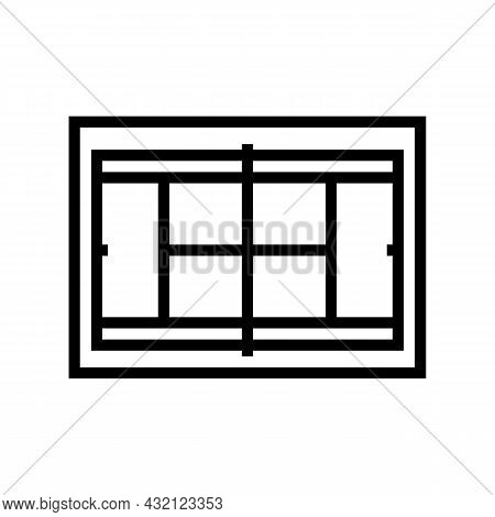 Court Tennis Playground Line Icon Vector. Court Tennis Playground Sign. Isolated Contour Symbol Blac