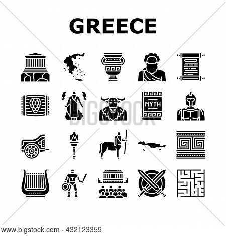 Ancient Greece Mythology History Icons Set Vector. Ancient Greece Myth And Ornament, Lyre Musician I