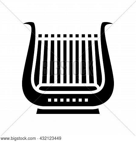 Lyre Musician Instrument Greece Glyph Icon Vector. Lyre Musician Instrument Greece Sign. Isolated Co