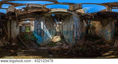 360 By 180 Degree Full Spherical Panorama Inside Of An Abandoned Half-destroyed Dormitory At Summer