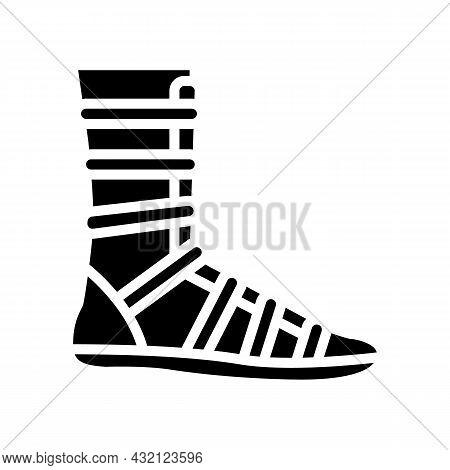 Warrior Shoe Ancient Rome Glyph Icon Vector. Warrior Shoe Ancient Rome Sign. Isolated Contour Symbol