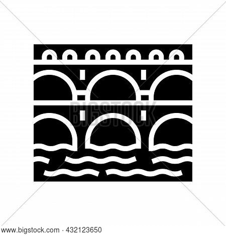 Aqueduct Ancient Rome Construction Glyph Icon Vector. Aqueduct Ancient Rome Construction Sign. Isola
