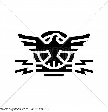 Coat Of Arms With Eagle Glyph Icon Vector. Coat Of Arms With Eagle Sign. Isolated Contour Symbol Bla