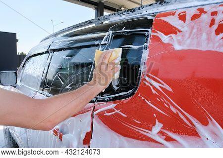 Manual Car Wash With Foam Sponge Outdoors