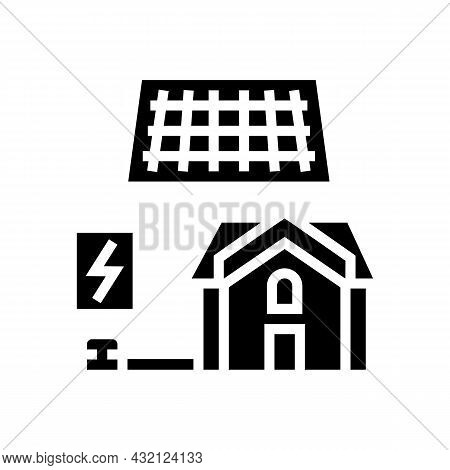 Solar Electricity Installation Glyph Icon Vector. Solar Electricity Installation Sign. Isolated Cont