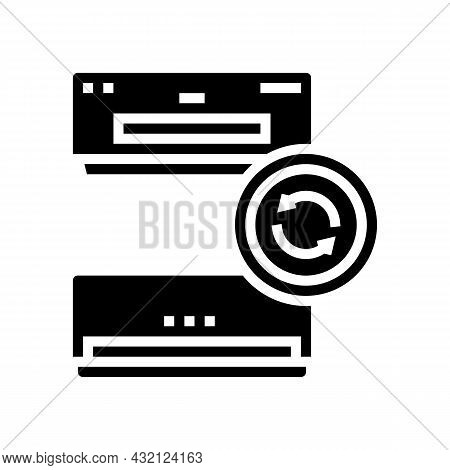 Air Conditioning Replacement Glyph Icon Vector. Air Conditioning Replacement Sign. Isolated Contour
