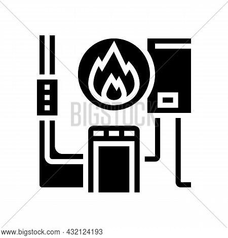 Heating System Glyph Icon Vector. Heating System Sign. Isolated Contour Symbol Black Illustration