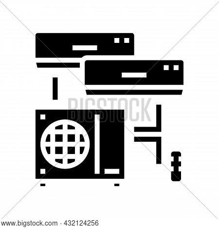 Split System Glyph Icon Vector. Split System Sign. Isolated Contour Symbol Black Illustration
