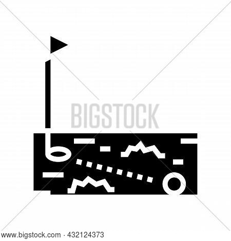Ball Running In Golf Hole Glyph Icon Vector. Ball Running In Golf Hole Sign. Isolated Contour Symbol