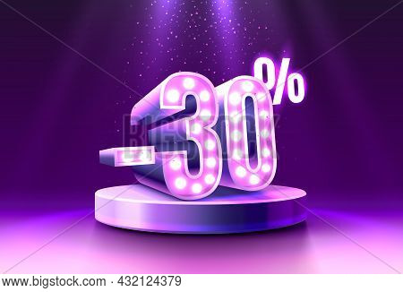 30 Off. Discount Creative Composition. 3d Sale Symbol, Neon Podium Gift Box. Sale Banner And Poster.