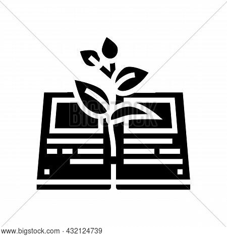 Reading Book For Growing Knowledge Glyph Icon Vector. Reading Book For Growing Knowledge Sign. Isola