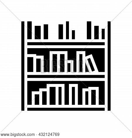 Library Shelf With Books Glyph Icon Vector. Library Shelf With Books Sign. Isolated Contour Symbol B