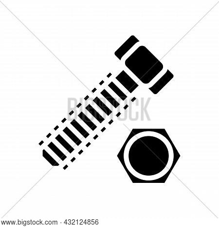 Hex Head Bolt Glyph Icon Vector. Hex Head Bolt Sign. Isolated Contour Symbol Black Illustration