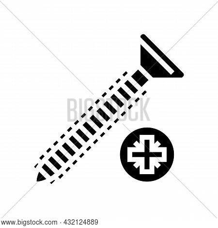 Wood Screw Glyph Icon Vector. Wood Screw Sign. Isolated Contour Symbol Black Illustration