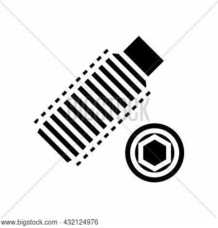 Set Screw Glyph Icon Vector. Set Screw Sign. Isolated Contour Symbol Black Illustration