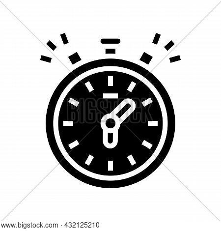 Stopwatch Playing Time Counting Glyph Icon Vector. Stopwatch Playing Time Counting Sign. Isolated Co