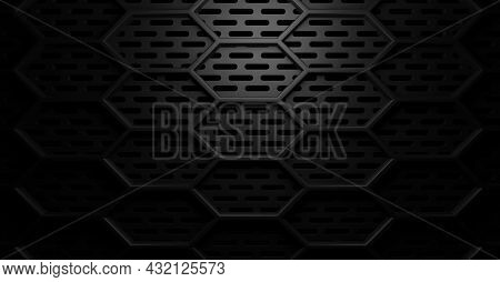 Doubkle Layer Hexagon Honeycomb Black Round Rectangle Holes Grid Grill Background With Light From Ab