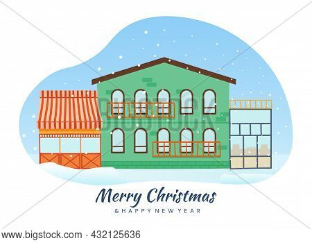 Town Houses During Snowfall. Shops And Apartments, Snow. Merry Christmas Wishes. Graphic Elements Fo