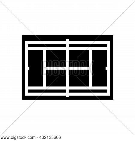Court Tennis Playground Glyph Icon Vector. Court Tennis Playground Sign. Isolated Contour Symbol Bla