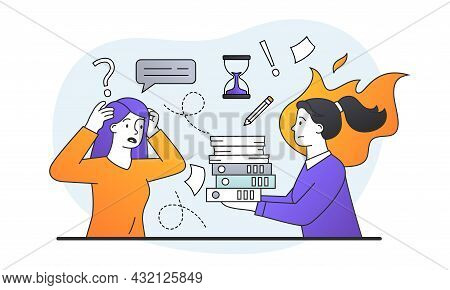 Information Overload Concept. Women With Documents Do Not Have Time To Complete Task On Deadline. St