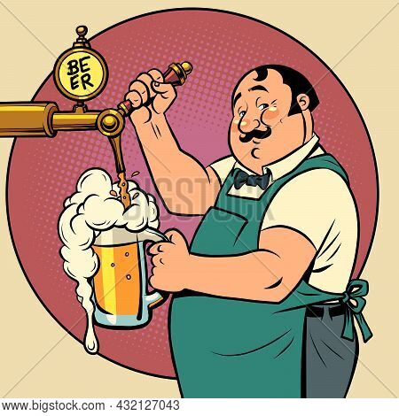 The Bartender In The Pub Is Pouring Draft Beer. Alcoholic Beverage, Beer Restaurant