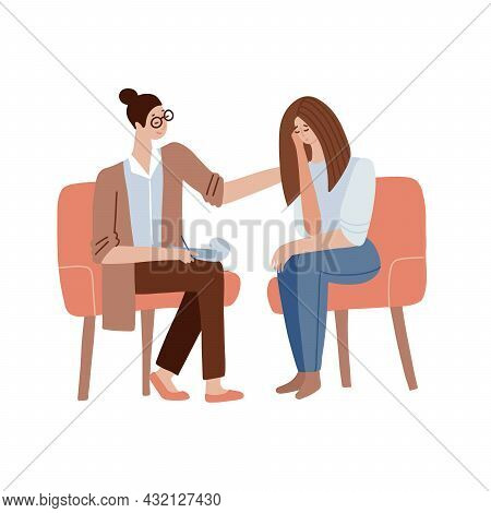 Female Psychologist Encourages The Patient. A Woman Doctor Is Conducting A Psychoanalysis Session. S