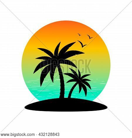 Palm Trees On The Island, Birds, Ocean And Sunset, Vector. Silhouettes Of Palm Trees And Birds Again