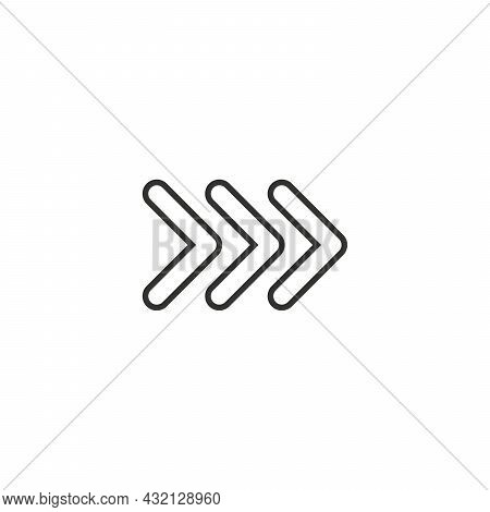 Black Vector Chevron Linear Arrows Pointing Right, Three Arrows In Row. Road Sign For Turn. Stock Ve