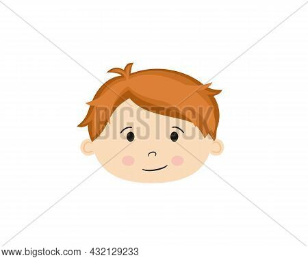 Isolated On White Background Cartoon Face Of Boy. Cute Redhead Baby. Hand-drawn Toddler. Vector Illu