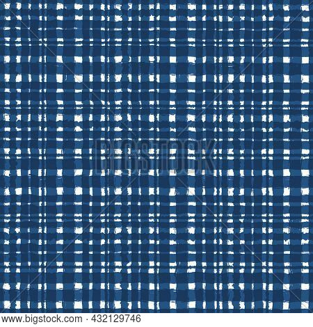Blue White Checkered Old Vintage Background With Blur, Gradient And Grunge Texture. Classic Checkere