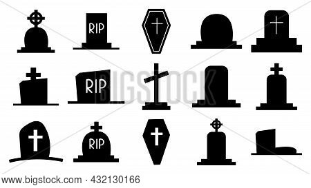 Collection Of Dark Silhouettes Of Tombstones. Icons Of Graves, Monuments With Crosses. Tomb With A C
