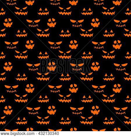 Seamless Repeating Pattern With Halloween Symbols. Design Of Silhouettes For The Holiday Halloween.