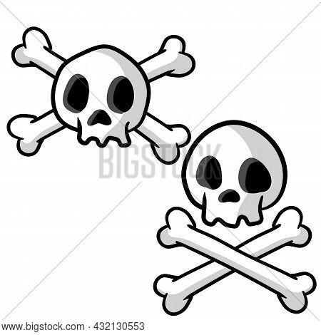 Human Skull And Crossbones. Dead Man's Head. Pirate Flag Jolly Roger. Funny Cartoon Flat Illustratio