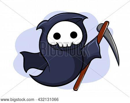 Cute Little Cartoon Death, Halloween Character, Vector Illustration