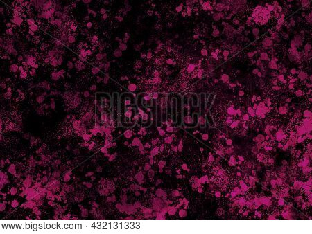 Black Magenta Pink Vintage Background With Spots, Splashes And Dots. Watercolor Texture With Blur An