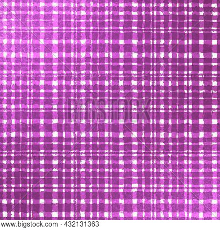 Pink Lilac Purple Checkered Old Vintage Background With Blur, Gradient And Grunge Texture. Classic C