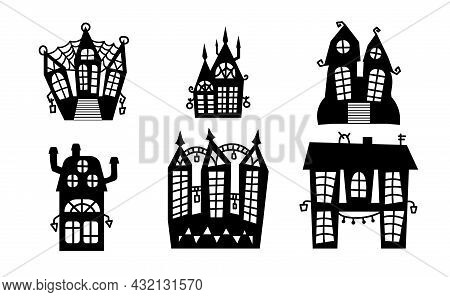 Spooky Houses Set Isolated Vector Illustration. Halloween Houses Collection. Kit Of Haunted Houses F