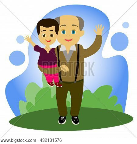 Grandfather And Grandson. An Elderly Man With His Grandson In His Arms, Against The Background Of Na